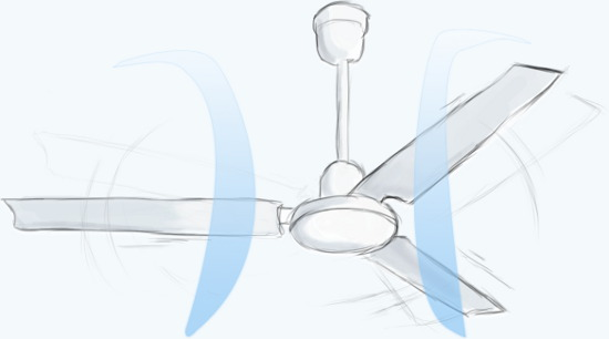 Air flow around a ceiling fan