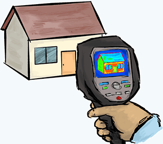 A thermal camera pointed at a house