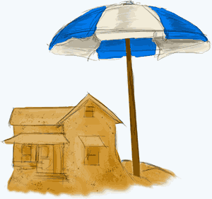 A house made of sand underneath an umbrella